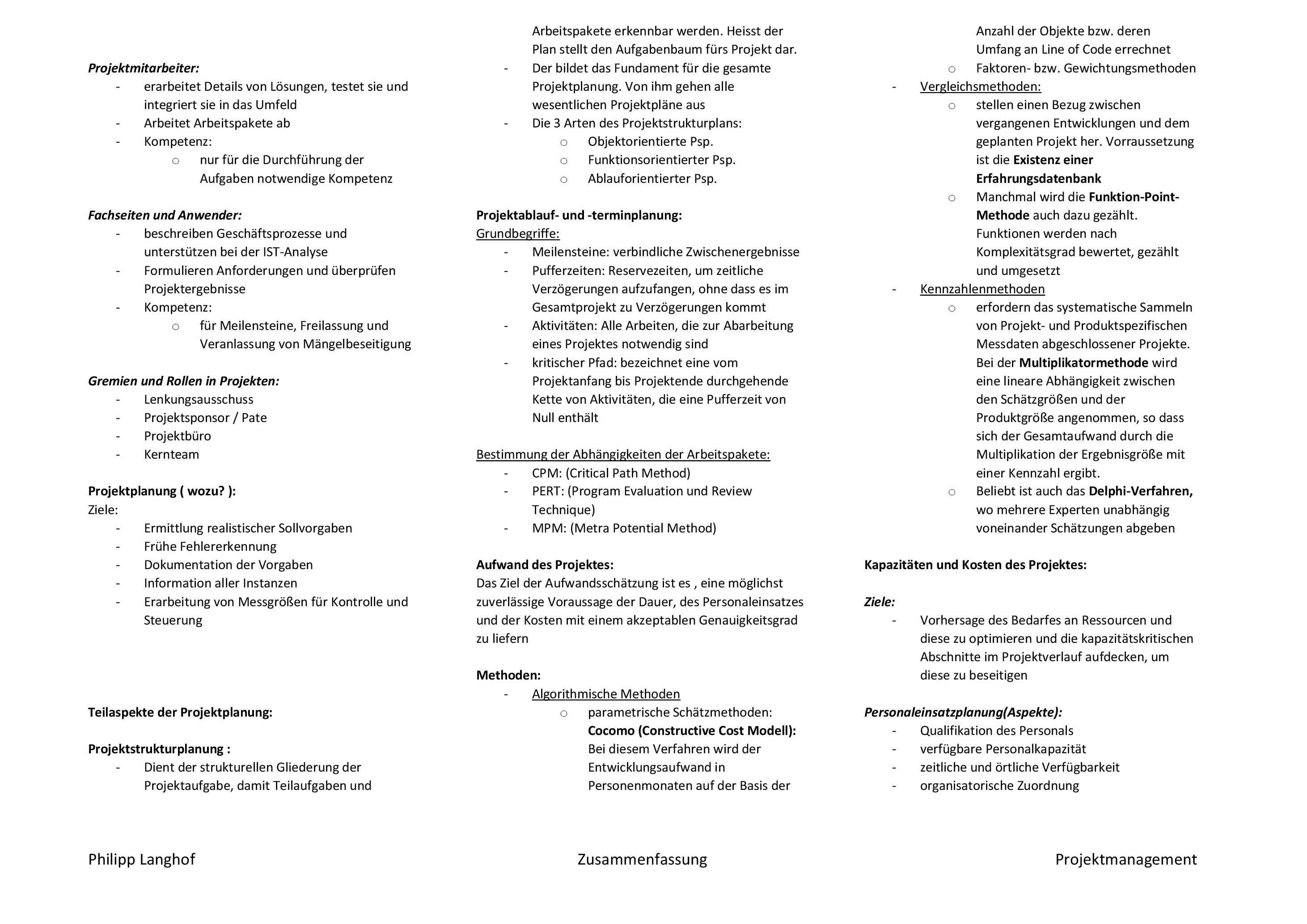 Projektmanagement-Zusammenfassung-Philipp-003 Zusammenfassung Projektmanagement