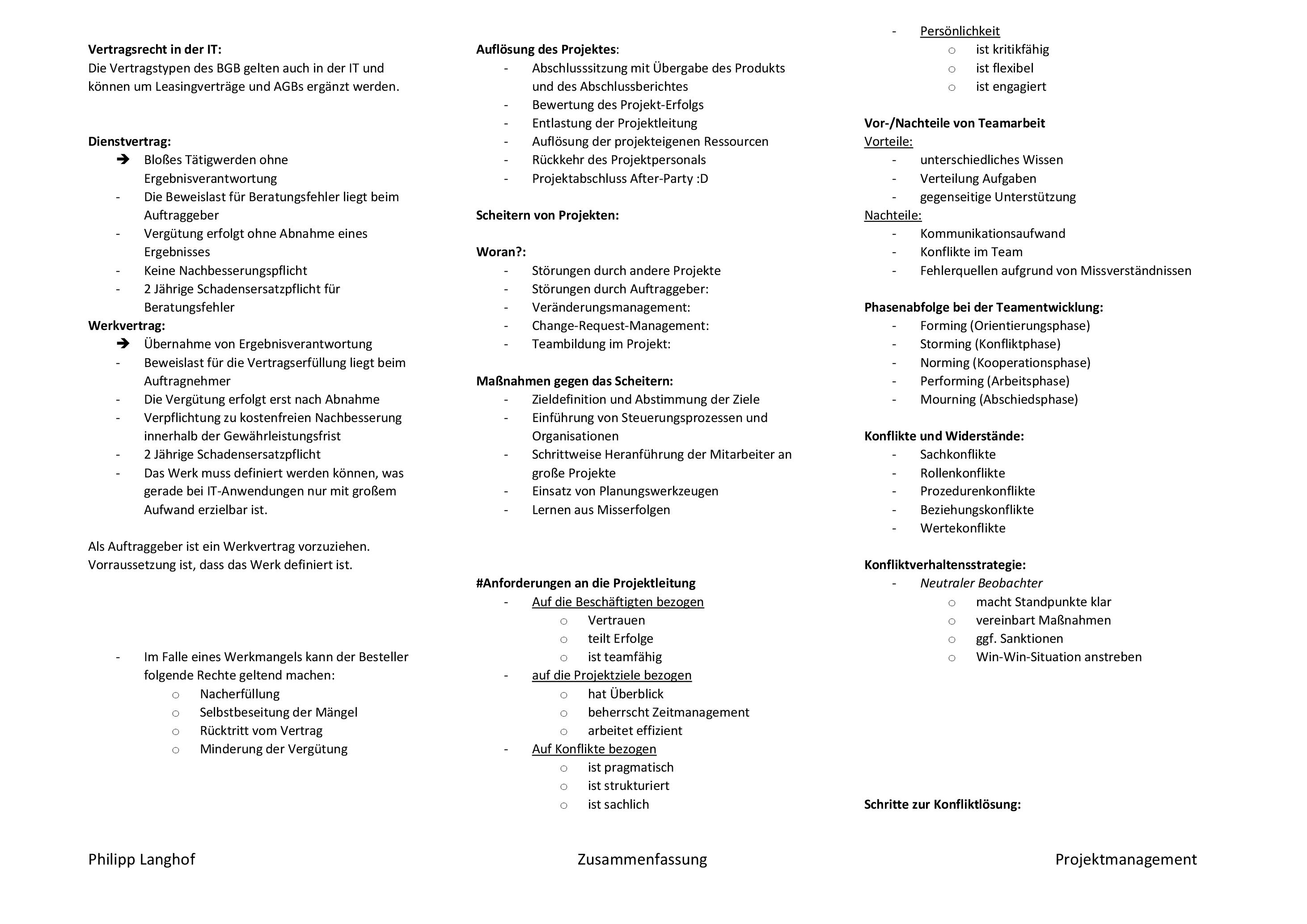Projektmanagement-Zusammenfassung-Philipp-005 Zusammenfassung Projektmanagement